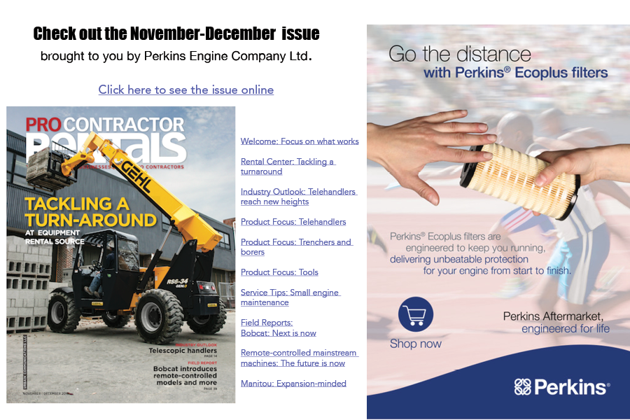 November December Pro Contractor Rentals takeover ad