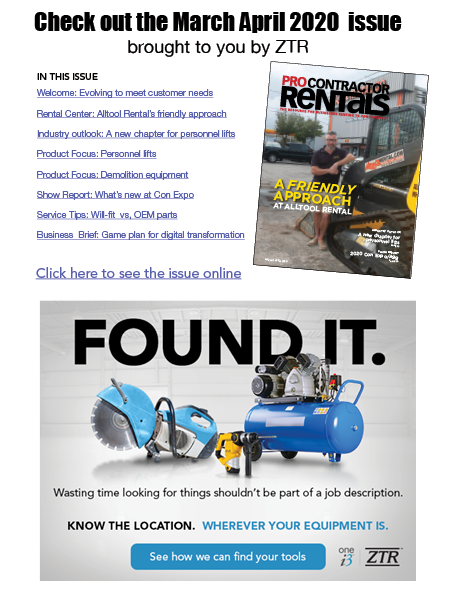 ZTR SPONSORS MARCH APRIL 2020 PRO CONTRACTOR RENTALS ONLINE ISSUE