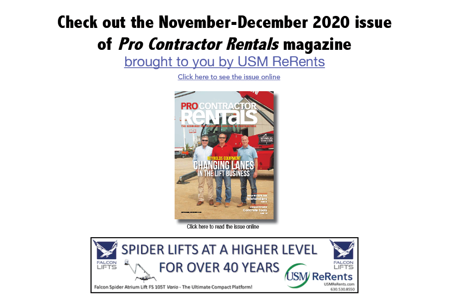 November -December Pro Contractor Rentals sponsored by USM ReRents