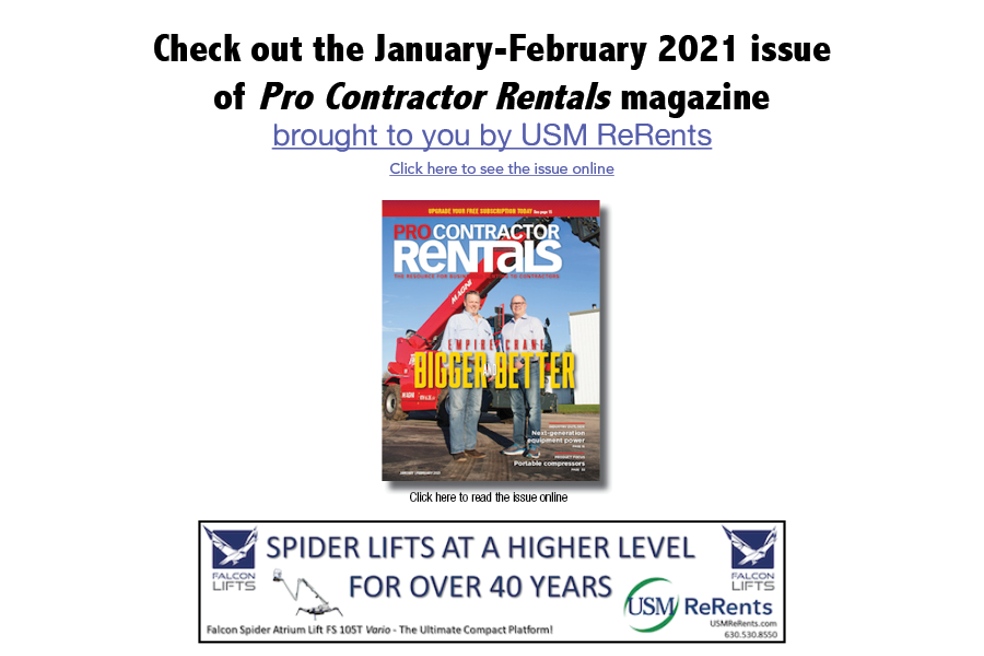 January-February Pro Contractor Rentals sponsored by USM ReRents